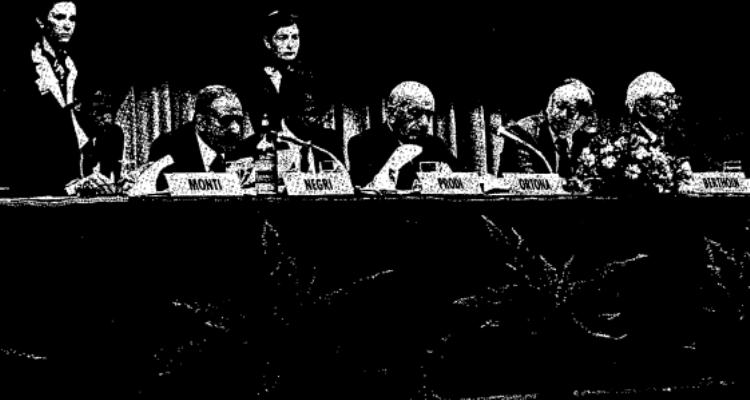 Monti, Negri, Prodi, Ortona alla Trilaterale del 1983