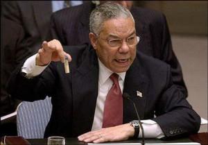 provetta esibita da Colin Powell